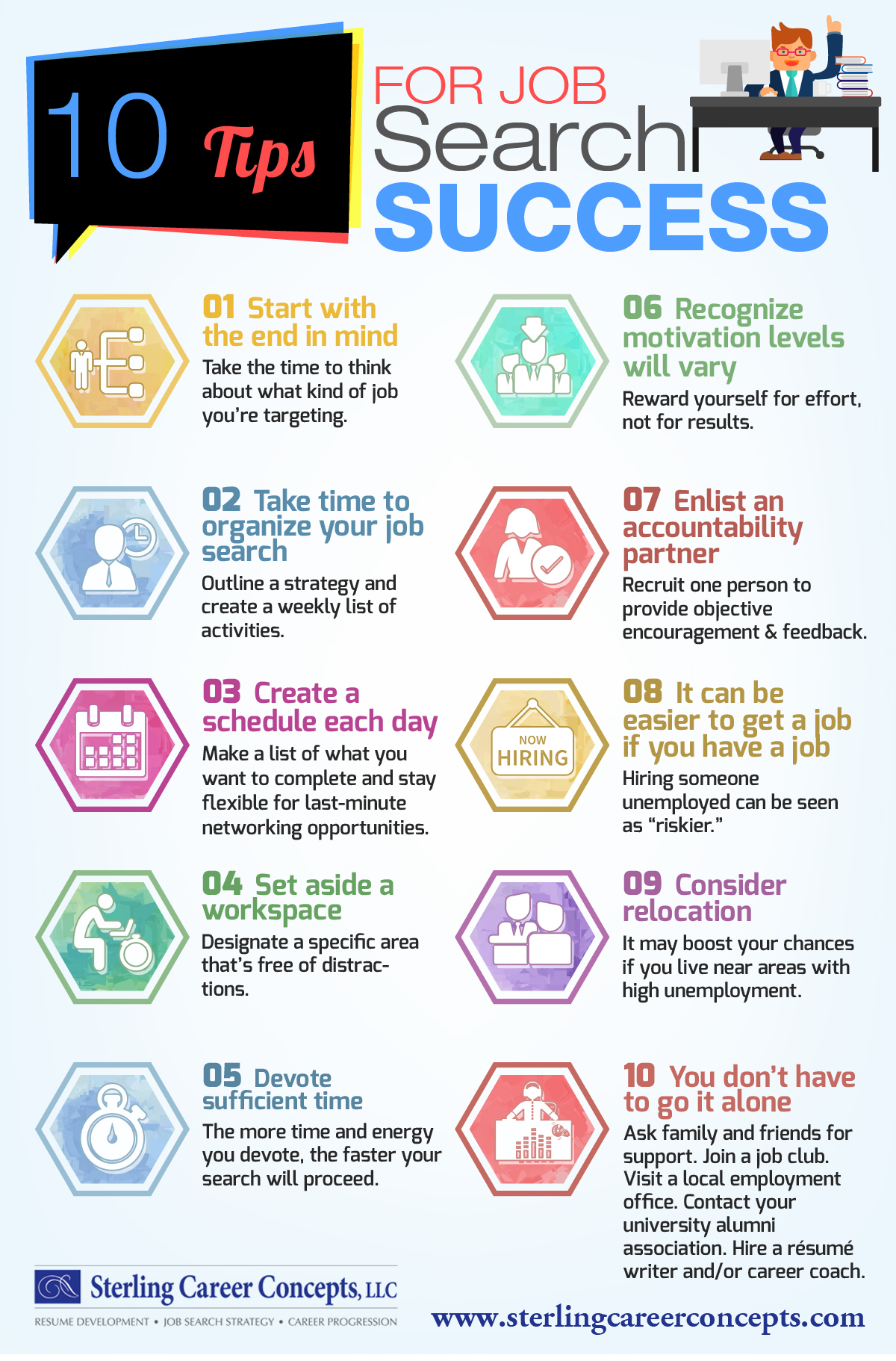 infographic 10 tips for job search success sterling career concepts infographic 10 tips for job search success